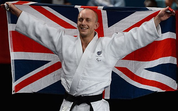 2012 London Paralympics - Day 1 - Judo...LONDON, ENGLAND - AUGUST 30: Ben Quilter of Great Britain celebrates beating Makoto Hirose of Japan to win the bronze medal in the Men's -60 kg Judo on day 1 of the London 2012 Paralympic Games at ExCel on August 30, 2012 in London, England. (Photo by Gareth Copley/Getty Images)