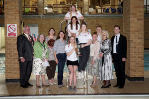 Witney and District Swimming Club members with their awards - Chantal Clavaud is second left